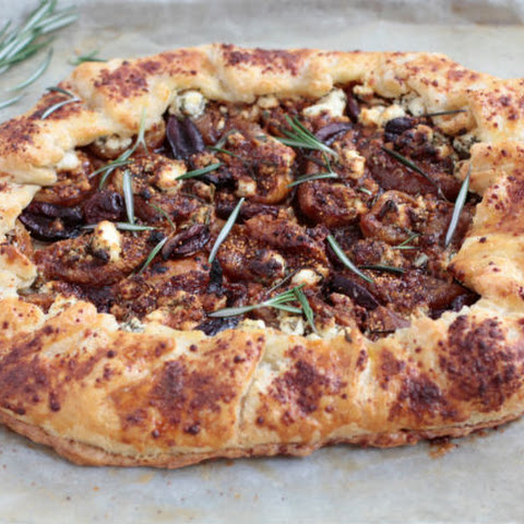 Goat Cheese, Silan and Olive Galette