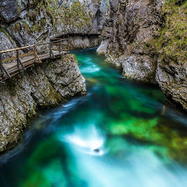Bled gorge by Miroslav Asanin - Landscapes Waterscapes ( water, canon, europe, pathway, waterscape, green, beautiful, canyon, tourism, travel, landscape, exploration, landmark, adventure, nature, slovenia, rapids, long exposure, view, travel photography,  )