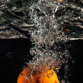 Orange by Dumitru Doru - Food & Drink Fruits & Vegetables ( water, orange, fruit, vitamins, splash, food, wet, light, black )