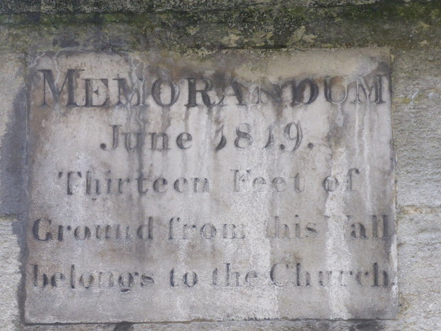 MEMORANDUM June 1819 Thirteen Feet of Ground from this Wall belongs to the Church.   13 feet would reach as far as the opposite pavement, and a little more, ending within inches of the face of the ...