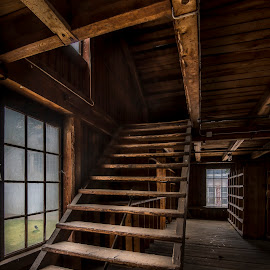 Stairway by Juha Kauppila - Buildings & Architecture Architectural Detail ( stairs, hdr, window, stairway, dark, moody, brown )