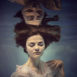 Emotions by Dmitry Laudin - People Fashion ( beautiful, emotions, blue, white, reflection, lace, light, underwater, portrait, girl )