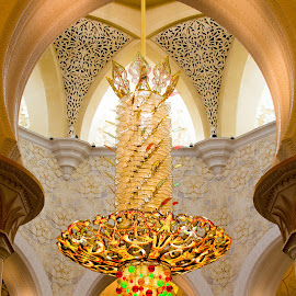 Chandelier by Muhannad Salem - Buildings & Architecture Architectural Detail ( interior, chandelier, arch, mosque, sh zayed mosque, symmetry, light )