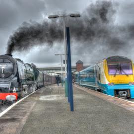 BR 46233 and ATW 175114 by David Garnett - Transportation Trains ( llandudno junction, north wales coast railway, duchess of hamilton, br 46233, atw 175114 )
