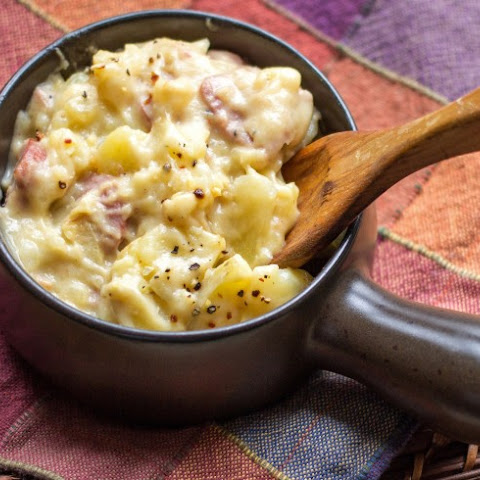Slow Cooker Au Gratin Potatoes and Ham