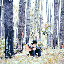 Song of nature by Rizki Puji - People Musicians & Entertainers ( cold, nature, green, acoustic, guitar, nikon, renewal, trees, forests, natural, scenic, relaxing, meditation, the mood factory, mood, emotions, jade, revive, inspirational, earthly )
