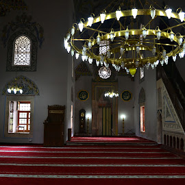 An Interior. by Marcel Cintalan - Buildings & Architecture Places of Worship ( lights, prayer, interior, mosque, kosovo, carpets, architecture )