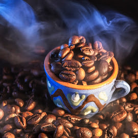 Hot coffee beans by Dumitru Doru - Food & Drink Ingredients ( aroma, fresh, food, beans, drink, coffee, hot, restaurant, arabian )