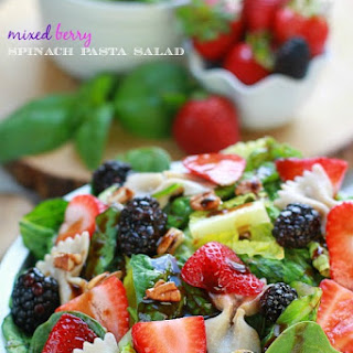Mixed Berry Spinach Pasta Salad