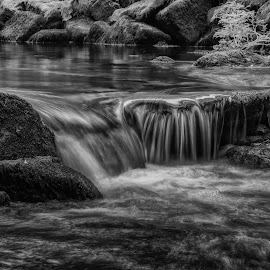 Shell falls by Barry Smith - Black & White Landscapes ( landscapes, rocks, monochrome, black and white, water )