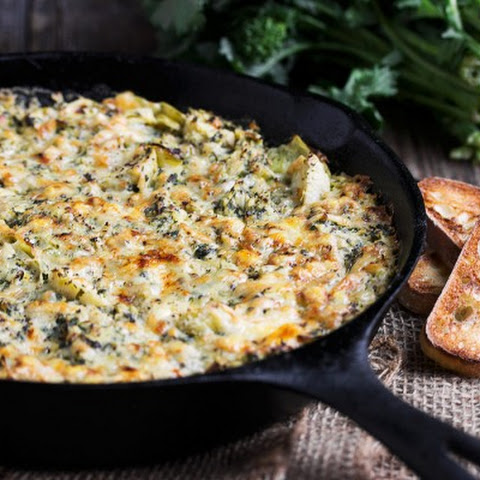 Warm Rapini, Artichoke and Oka Cheese Dip