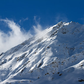 Snow Capped Mountain from Evolene by Joe Proctor - Landscapes Mountains & Hills ( mountain, sky, sharp, blue, cap, snow, cloud, sun )