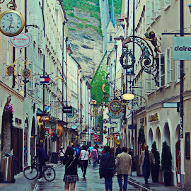 SALZBURG by RAJ - City,  Street & Park  Street Scenes ( cityscapes, europe, street, tourism, travel, people, photography, street photography, salzburg, colourful, tourists, shopping, trip, austria, travel photography, mall, travel locations )