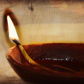 Diya by Rima Biswas - Abstract Fire & Fireworks ( pradeep, texture, still life, fine art, lamp, light, diya, clay lamp, flame )