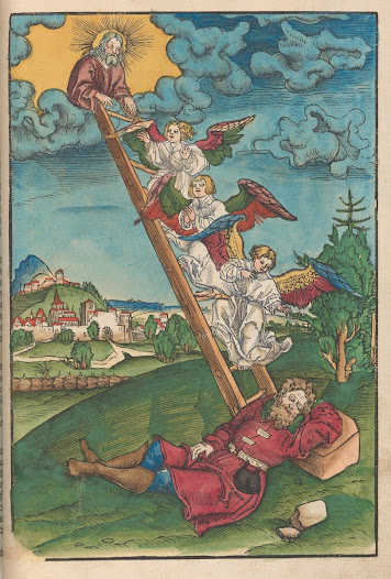Hand-coloured woodcut showing Jacob's dream as described in the book of Genesis. It is set here in a German landscape.