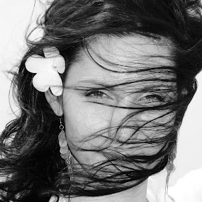 Hair and Flower by Alexander Mountana - People Portraits of Women