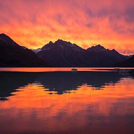 Alaskan Sunset by Michael Waller - Landscapes Sunsets & Sunrises ( reflection, sunset, alaska, lake, landscape,  )
