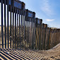United States border fence, US/Mexico border, east of Nogales, Arizona, USA, viewed from US side