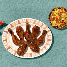 Grilled Hoisin Garlic Drumsticks With Tomato-corn Salad