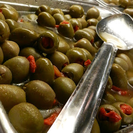Stuffed Olives and Spoon by Kathy Rose Willis - Food & Drink Fruits & Vegetables ( red, stuffed olives, green, silver, spoon, olives )