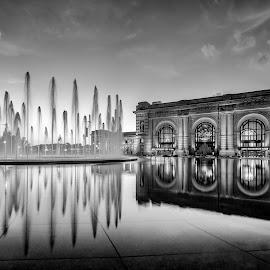 Union Station Fountain - Black White by Jonathan Tasler - City,  Street & Park  Fountains ( clouds, reflection, sky, monochrome, missouri, kansas city, black and white, fountain, reflections, union station )