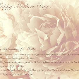 The definition of a Mother by Sherry Hallemeier - Typography Quotes & Sentences ( love, rewarding, tears, mother's day, birth, mom, holiday, mother, joy, biological, step, mothers day, guardian, card )