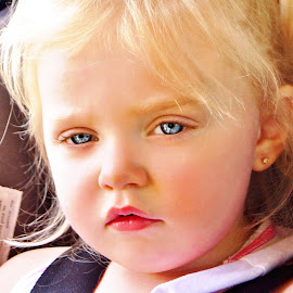 Pouting in the Car by Cheryl Korotky - Babies & Children Child Portraits
