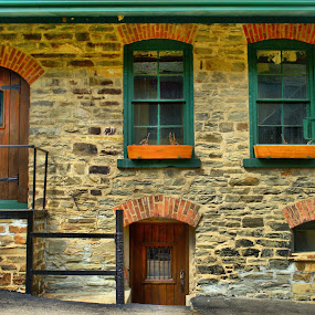 Building at Winery by Jim Davis - Buildings & Architecture Other Exteriors ( doors, landmark, vines, glass, stone building, stone, windows, historical )