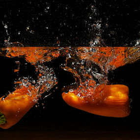 by Javier Luces - Food & Drink Fruits & Vegetables ( water, splash, food, pepper, vegetable, chili )