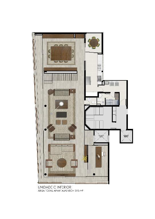 Planta Duplex Inferior  Unidade C - 393 m²