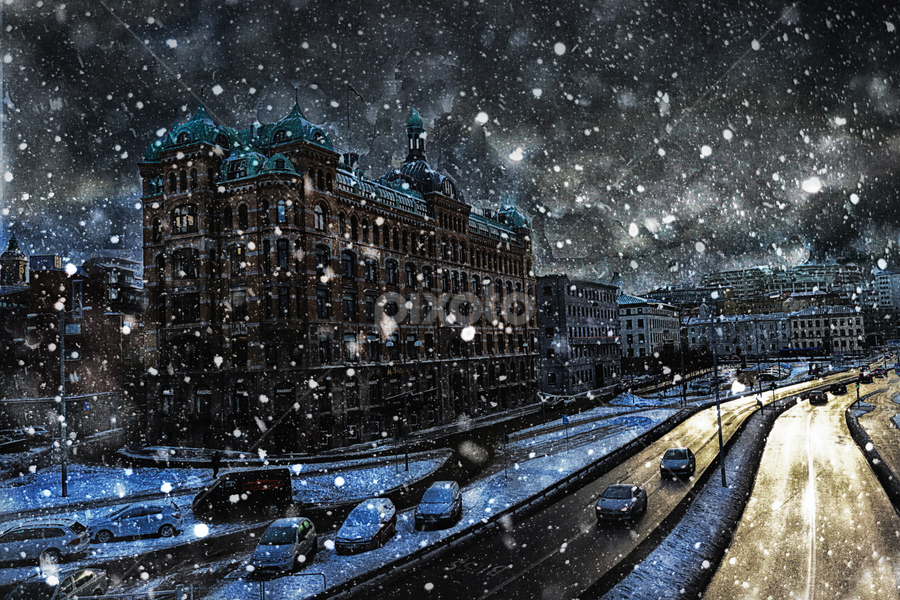 Sweden by Doreen Rutherford - City,  Street & Park  Street Scenes ( pwcfoulweather-dq, city, night )
