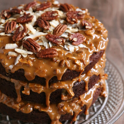 Chocolate Cola Cake with Dulce de Leche, Coconut and Pecan Icing