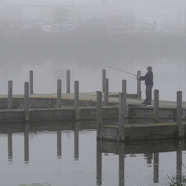 Fishing In The Fog by Howard Sharper - Sports & Fitness Other Sports ( foggy, sports, waterscape, fishing, riverside,  )