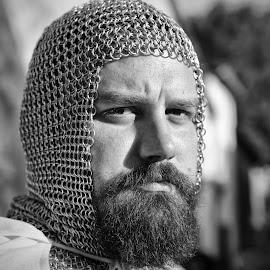 by Marco Bertamé - Black & White Portraits & People ( b&w, beard, metal, knight, man, warrier, portrait )