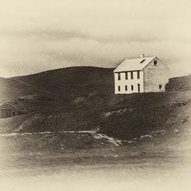 House on a Hill by Richard Michael Lingo - Digital Art Places ( hillside, iceland, digital art, house, places )