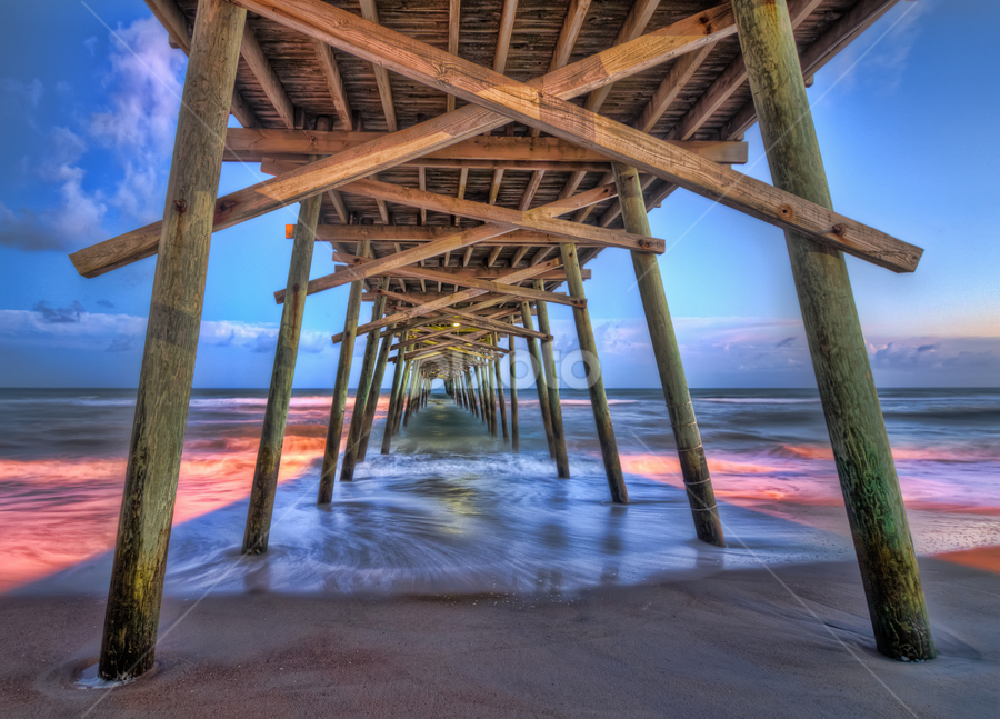 Under the Pier by Aaron Dryden - Landscapes Beaches ( sunset, blue hour, pier, beach, relax, tranquil, relaxing, tranquility )