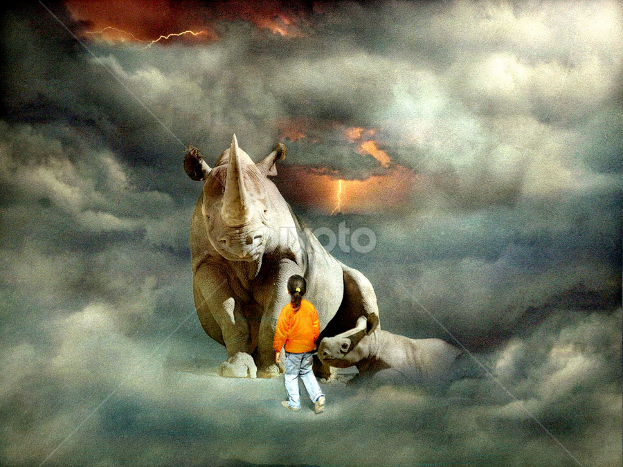 The Girl and the Rhino by Bjørn Borge-Lunde - Digital Art Abstract ( wild animal, clouds, thunder, fairy tale, cloudscape, rhino, fantasy, child, wilderness, magic, girl, nature, magic kingdom )