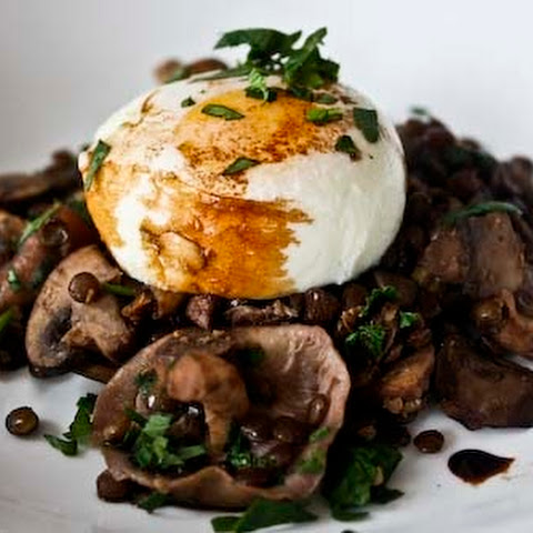 Lentil and Wild Mushroom Hash with Poached Eggs