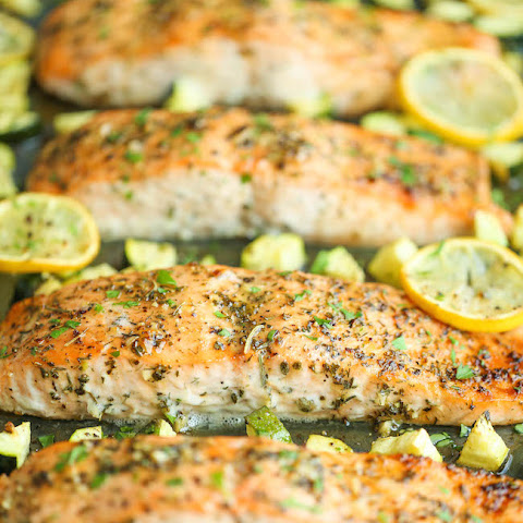 One Pan Lemon Herb Salmon and Zucchini