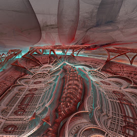 The New Stadium; With Appropiate Parking by Rick Eskridge - Illustration Buildings ( jwildfire, buildings, mb3d, fractal, twisted brush )