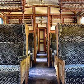 First Class Seats by Marco Bertamé - Artistic Objects Furniture ( first class, wood, blue, vintage, 1900, train, velvet, compartment )
