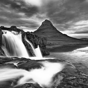Kirkjufell Waterfalls 2 by Fokion Zissiadis - Landscapes Waterscapes ( mono-tone, b&w, black and white, black and white collection, b and w, monotone, landscape, black&white landscape kirkjufell waterfalls iceland,  )