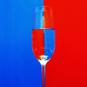 Contrast by Lolit Cabilis - Artistic Objects Glass ( champagne glasses, art, glass, refraction )
