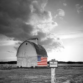 The Only Wall So Far This Fall  by T Sco - Digital Art Places ( america, crib, corn, weathered, no tresspassing, field, sign, farm, flag, barn, american, tresspass, crops, fields )