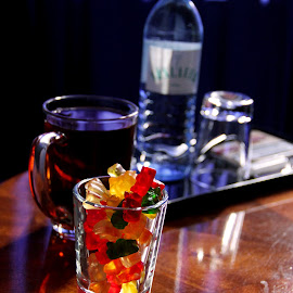 Haribo On Table by Mashhour  Halalo - Food & Drink Alcohol & Drinks ( sweets, shadow, drink, glass, tea, light )