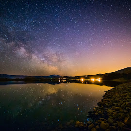 Pineview Reservoir by Nick Johnson - Landscapes Starscapes ( water, utah, night, long exposure, milky way )