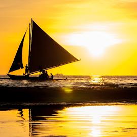 Paraw by Ynon Francisco - Transportation Boats ( transport, sunset, boracay, sea, sail, boat, philippines )