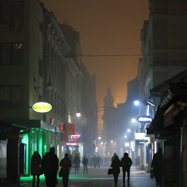 Sarajevo city by foggy night by Bozidarka Scerbe Haupt - City,  Street & Park  Street Scenes ( fog, sarajevo, night, city )