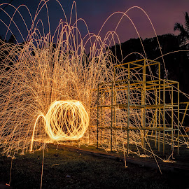 Fire Ball In The Playground by Carboxylic Tan - Abstract Light Painting ( spinning, lightpainting, steelwool, sparks, longexposure )