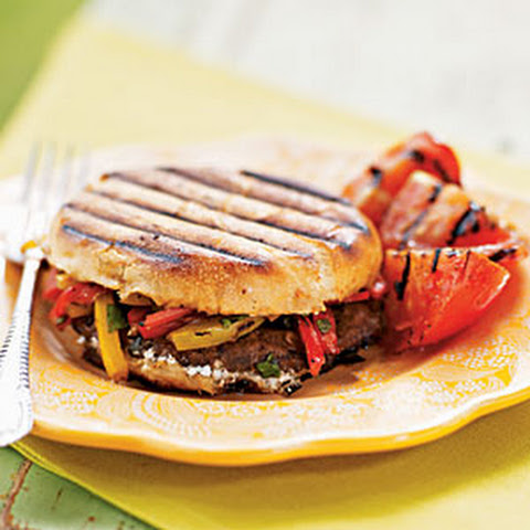 Grilled Portobello, Bell Pepper, and Goat Cheese Sandwiches
